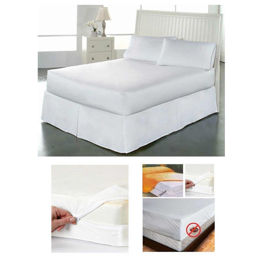 2 Queen Size Mattress Cover Zipper Protects Against Bed Bugs Dust Allergy Relief