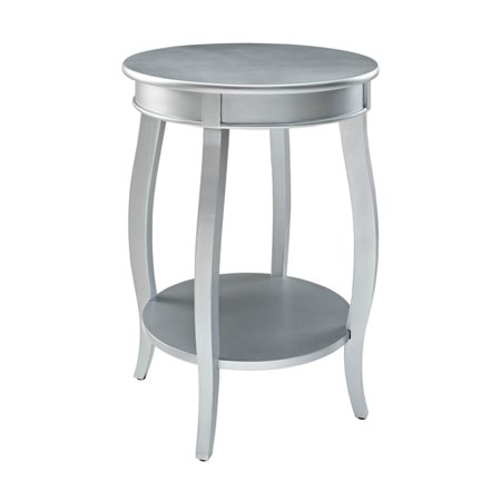 Powell Round Side Table with Shelf, Multiple Colors