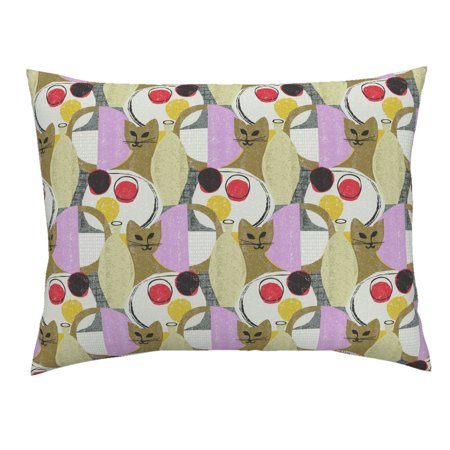 Mid Century Modern Kitten Mod Scandi Cat Kitten Retro Pillow Sham by Roostery