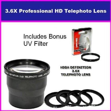 3.5X HD Professional Telephoto lens For Sony SAL-1870 18-70MM & Sony 55-200MM Includes Bonus 72MM Protective UV Filter Tube Adapter Included