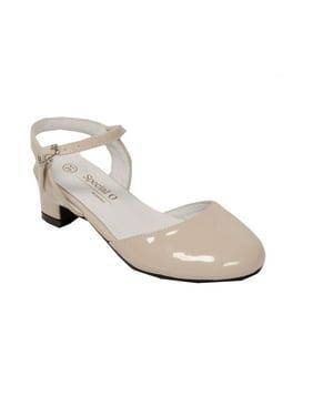 Pazitos Girls Patent Naturel D'Orsey Buckle Kitten Heel Shoes