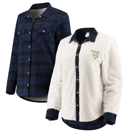 West Virginia Mountaineers Women's Reversible Sherpa Flannel Long Sleeve Button-Up Shirt -