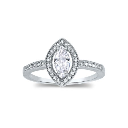 Cute Marquise (Marquise Cut 925 Sterling Silver Cz Halo Ring Wedding Engagement Solitaire)