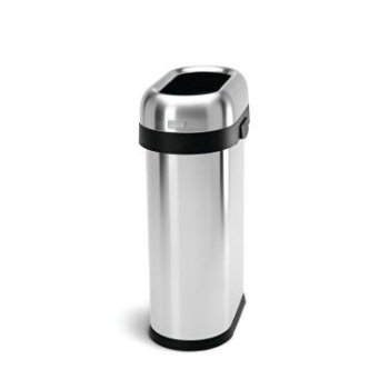 Simplehuman Slim Open Top Trash Can, Commercial Grade, Heavy Gauge Stainless Steel, 50 L 13 Gal