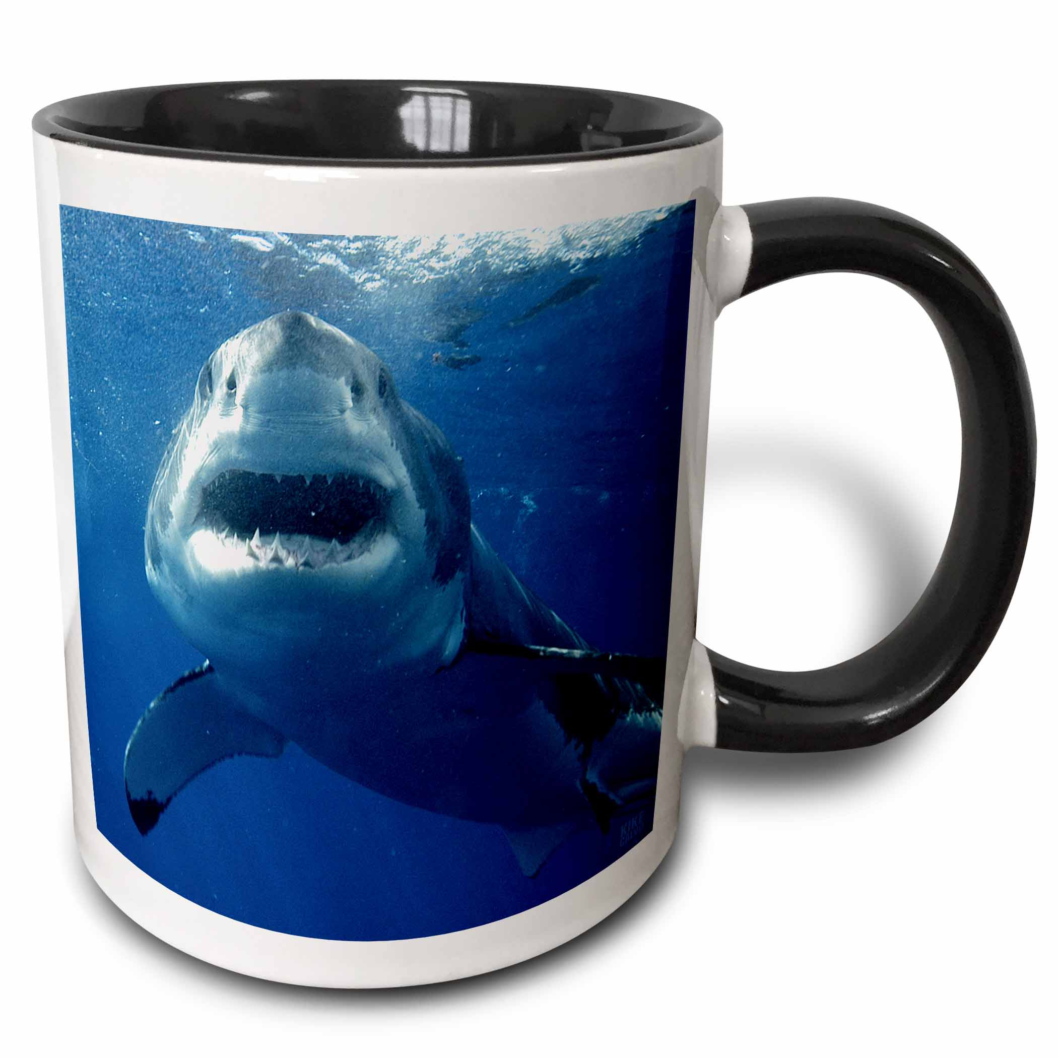 3dRose Great White Shark - Two Tone Black Mug, 11-ounce