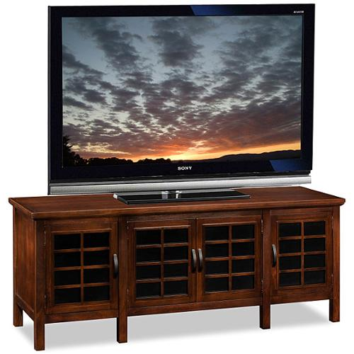 KD Furnishings Chocolate/Black Glass 60-inch TV Stand and Media Console