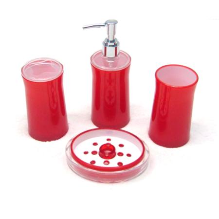 New shine 2 tone 4 piece bath accessories set red for Two tone bathroom accessories