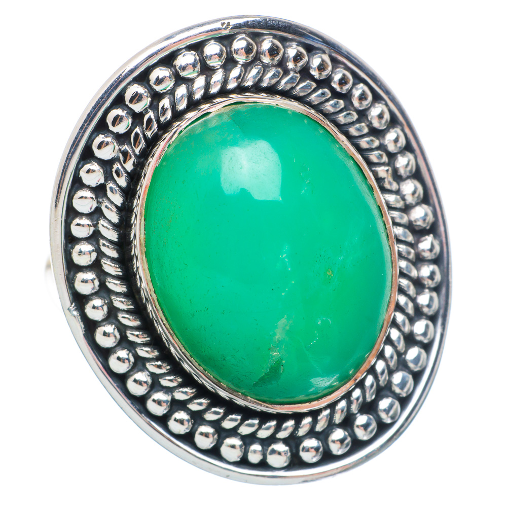 Ana Silver Co Large Chrysoprase Ring Size 9 (925 Sterling Silver) Handmade Jewelry RING898379 by Ana Silver Co.