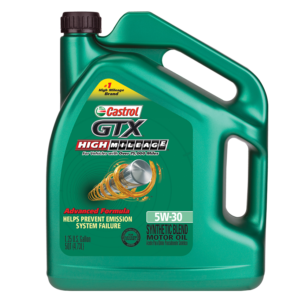 Castrol GTX High Mileage 5W-30 Synthetic Blend  Motor Oil, 5 qt.
