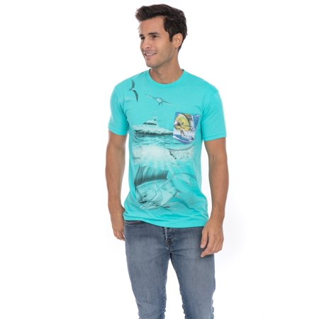 Offshore Deep Sea Mahi Ocean Fish Fishing Yacht Soft T-Shirt Tee Printed Pocket Unisex Mens - Blue