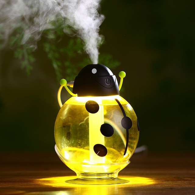 260ml USB Beetle Air Purify Ultrasonic Humidifier Aroma Aromatherapy Essential Oil Diffuser, Mini Portable Mist Humidifier LED Night Light