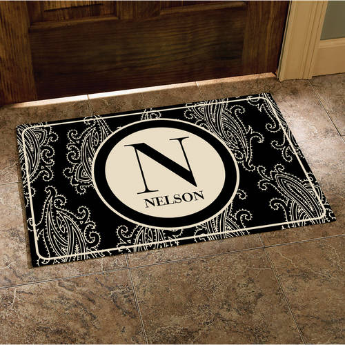 """Personalized Paisley Initial and Name Doormat, Black, 17"""" x 27"""""""