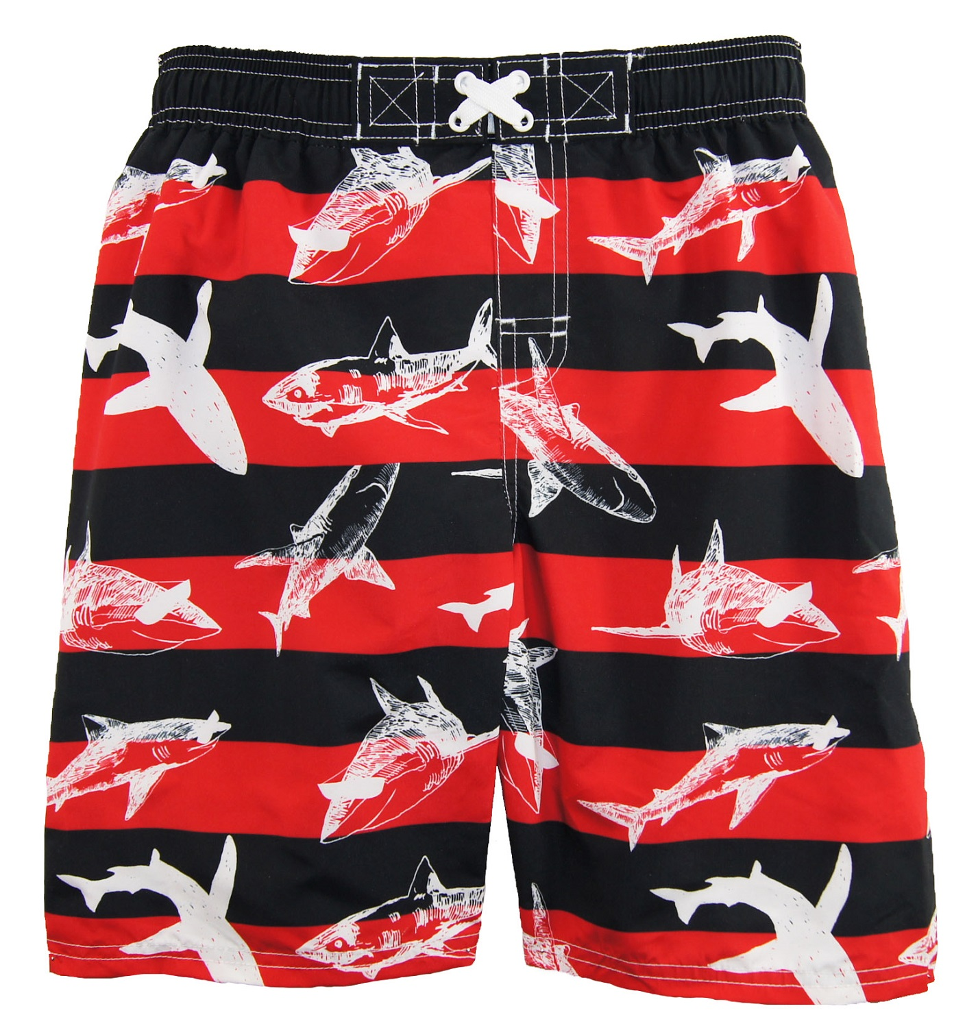 iXtreme Little Boys' Stripes with Sharks Rash Guard Swim Short