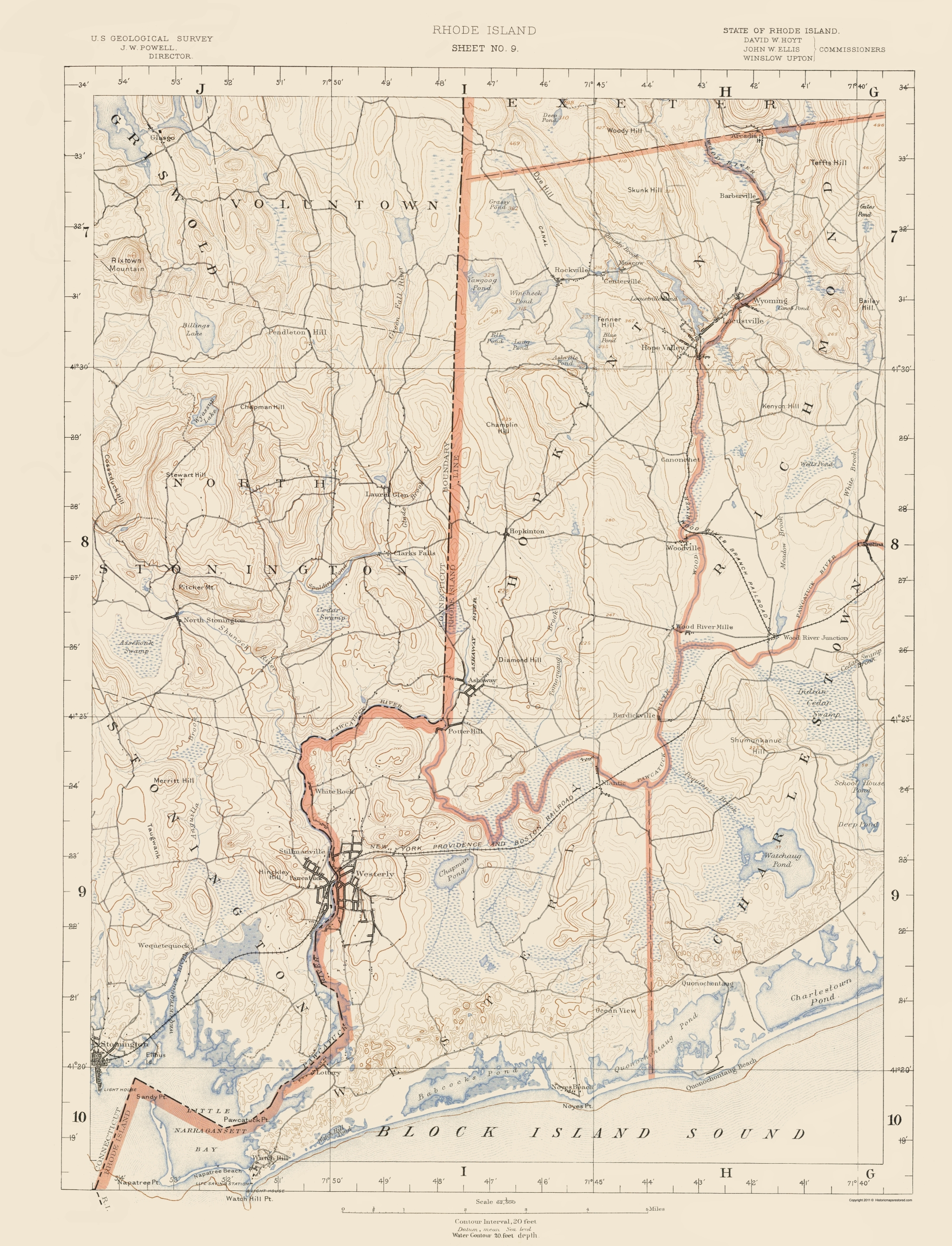Topographic Map Rhode Island.Topographical Map Rhode Island 9 Of 10 Sheet Usgs 1891 23 X