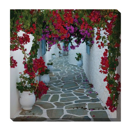 West of the Wind Bougainvillea Path Outdoor Canvas Art - 24 x 24 -