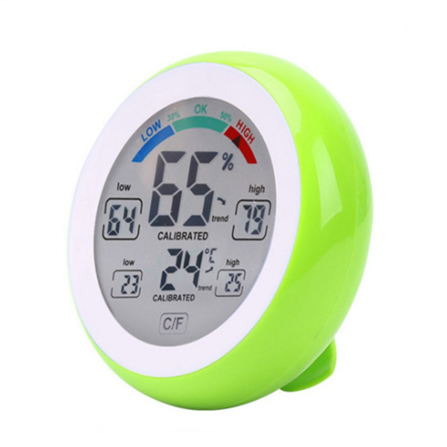 ICOCO TS-S93 Touch Screen Thermometers Round Temperature Humidity Monitor Hygrometer