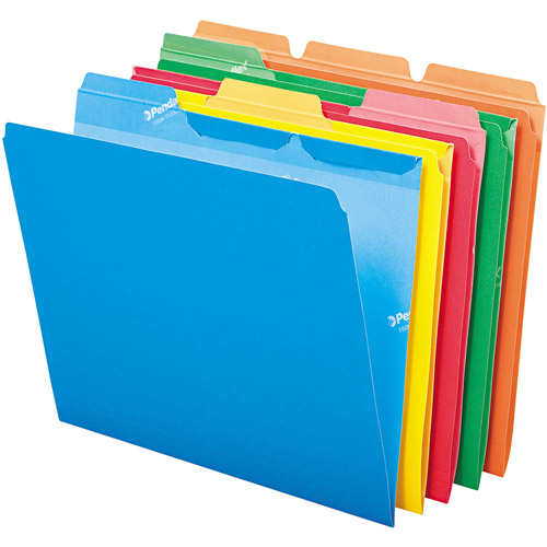 Pendaflex - Ready-Tab File Folders, 1/3 Cut Top Tab, Letter, Assorted Colors - 50/Box