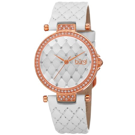Swarovski White Leather - Burgi Women's Swarovski Crystals Quartz Quilted-Design Leather White Strap Watch