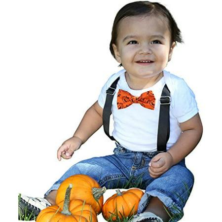 Noah's Boytique Halloween Pumpkin Jack O Lantern Bow Tie Outfit Baby Boy Costume Newborn (Halloween Michael Myers Jack O Lantern)
