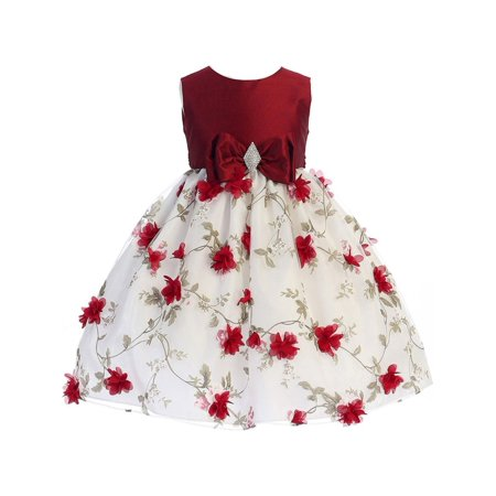 Crayon Kids Girls Red White Flower Brooch Bow Christmas Dress](Christmas Dresses For Children)