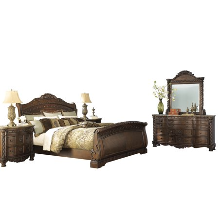 Ashley Furniture North Shore 5 PC Bedroom Set: Cal King Sleigh Bed Dresser Mirror 2 Nightstand Dark