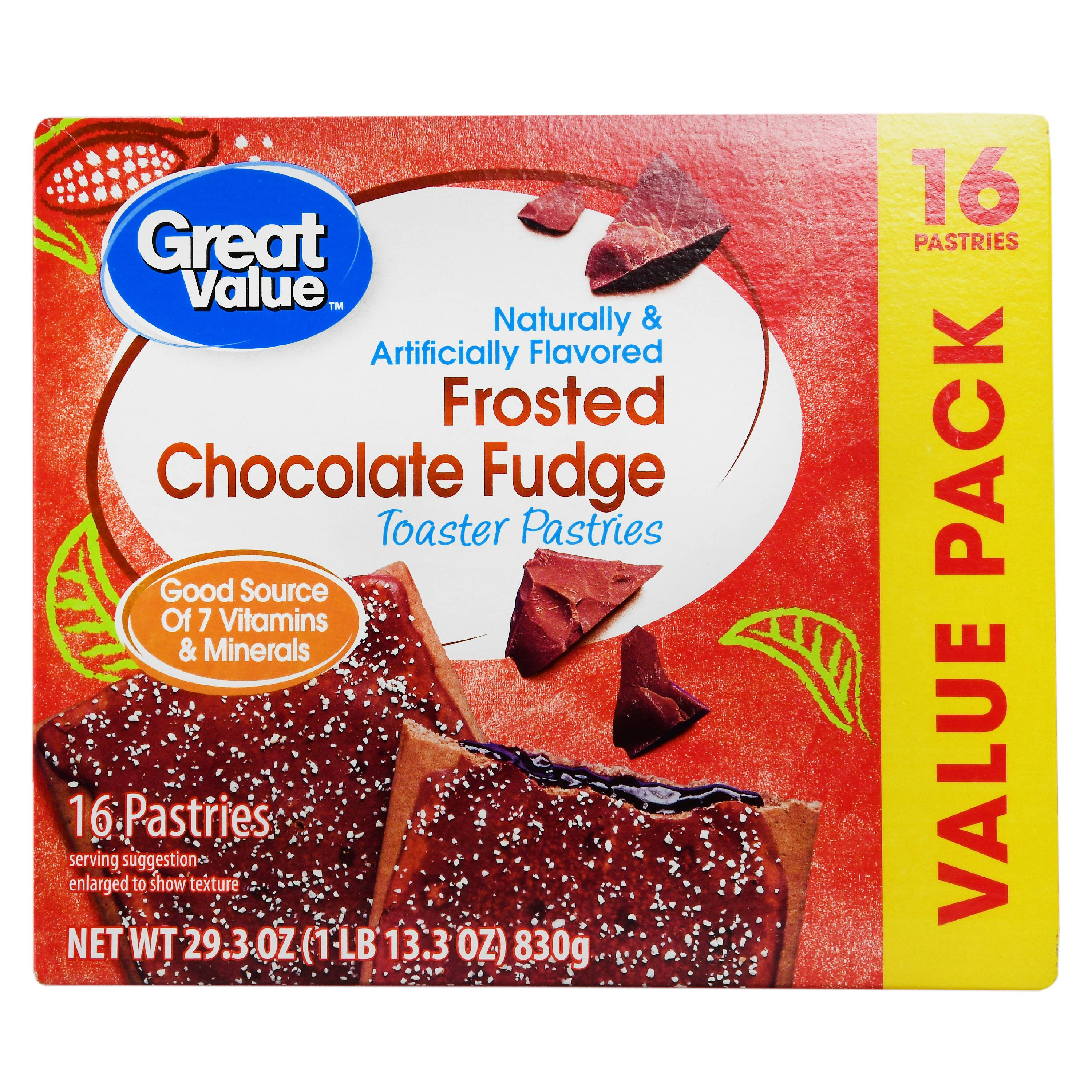 Great Value Frosted Toaster Pastries, Chocolate Fudge, 29.3 oz, 16 Count