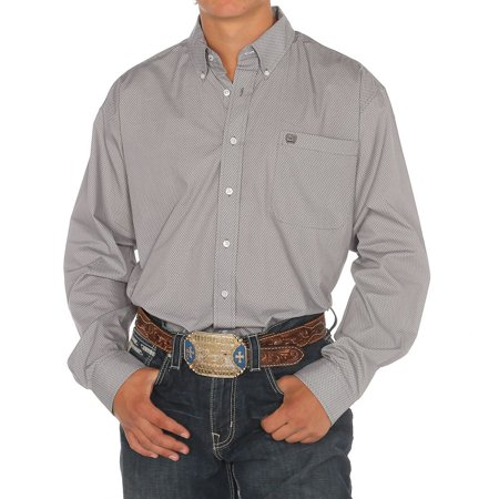 Cinch Apparel Mens  Grey Long Sleeve Buttondown Shirt