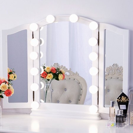 Chende Hollywood Style LED Vanity Mirror Lights Kit with Dimmable 14 Light Bulbs, Lighting Fixture Strip for Makeup Vanity Table Set in Dressing Room, (Mirror Not