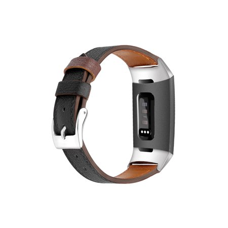EEEKit Leather Watch Band for Fitbit Charge 3, Soft Replacement Bracelet Wristband Strap Watch Band for Fitbit Charge 3 & 3SE Men Women ()