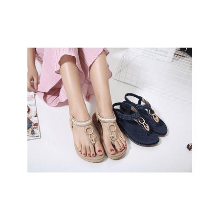 3b10d1058e95cc Women New Summer Bohemia Slippers Flip Flops Lady Flat Sandals Beach Thong  Shoes - Walmart.com