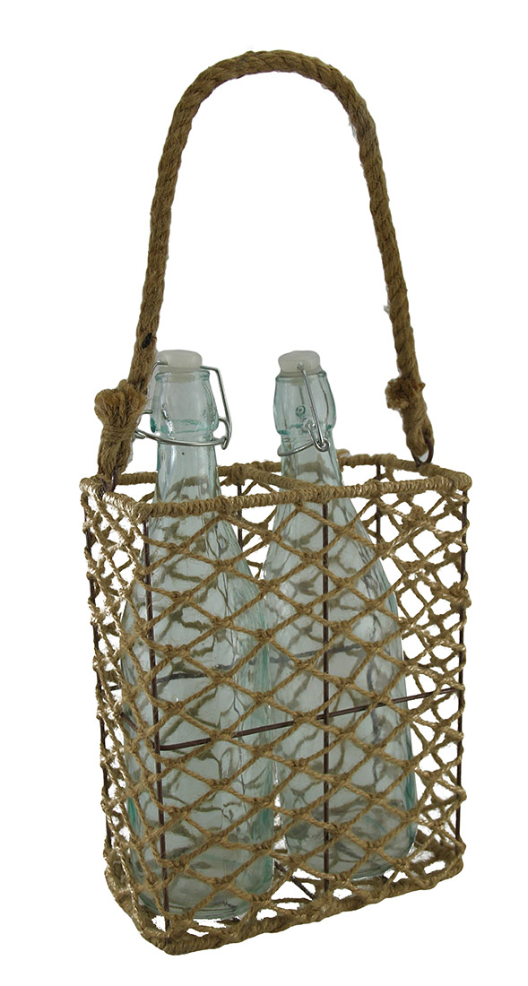 2 Clear Glass Bottles In Decorative Jute Rope and Metal Basket Holder by A&B Home