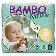 Bambo Nature Baby Diapers Classic, Size 3 (11-20 lbs), 198 Count (6 Packs of 33)