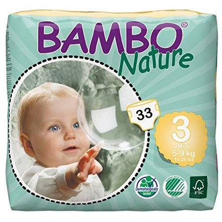 Bambo Nature Baby Diapers Classic, Size 3 (11-20 lbs), 198 Count (6 Packs of
