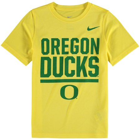 Oregon Ducks Nike Youth Legend Stacked Performance T-Shirt - Heathered Yellow