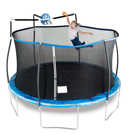Bounce Pro 15-Foot Trampoline, with Enclosure and Basketball Hoop, (Best Trampoline Basketball Hoop)