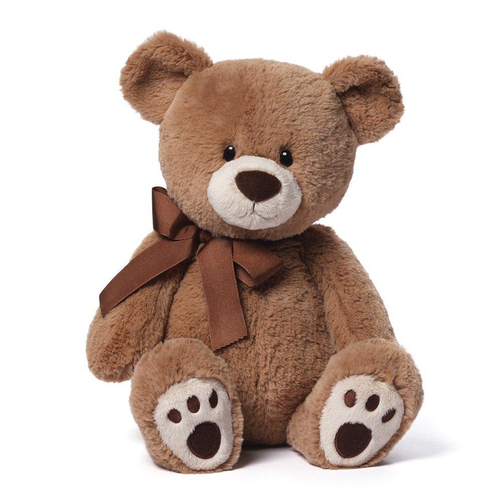 GUND 4048544 Kiwi the Medium Tan Teddy Bear with Brown Bow Stuffed Animal by GUND