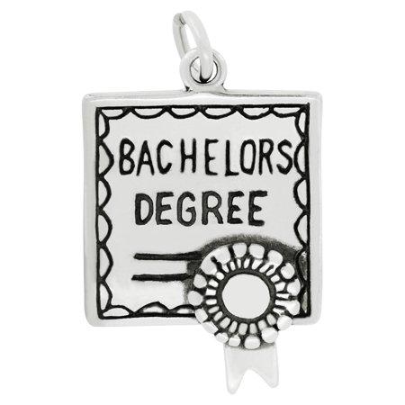 Sterling Silver Bachelors Degree Diploma Charm Pendant  24 X 16 Mm