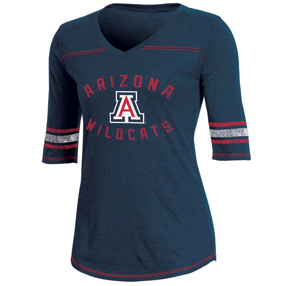 Women's Russell Navy Arizona Wildcats Fan Half-Sleeve V-Neck T-Shirt