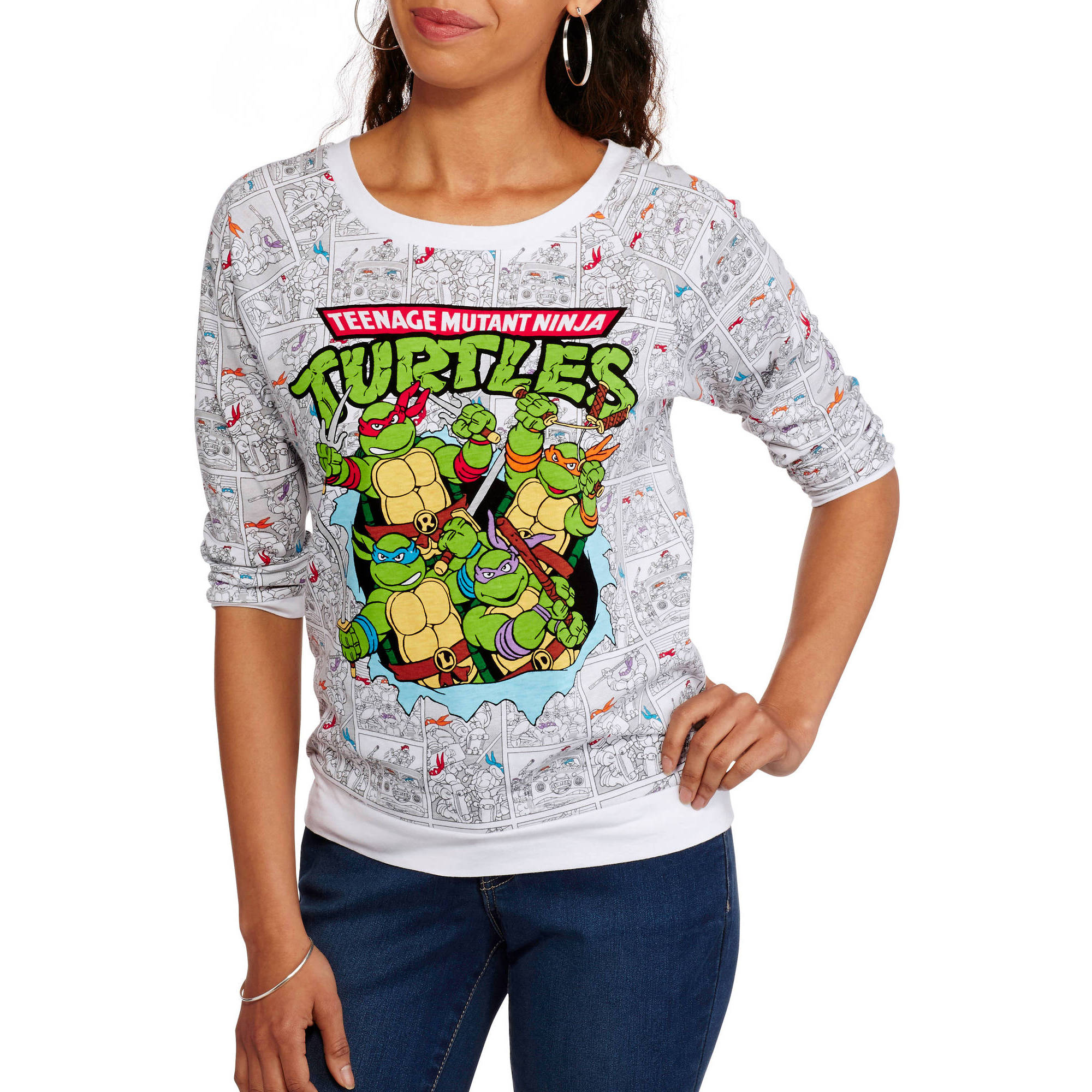 Juniors Teenage Mutant Ninja Turtles Comic All Over Print 3/4 Sleeve Shirt