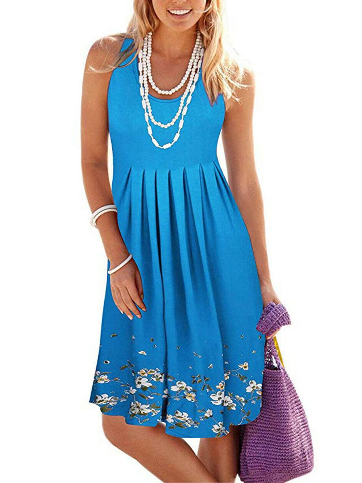 Pleated Sundress Boho Strap Women/'s Beach Dress Summer Party Evening Cocktail