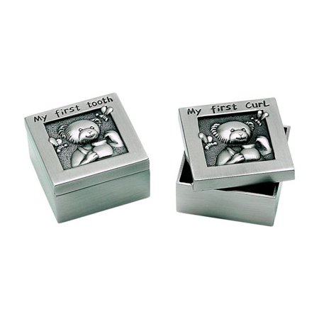 1.5 in. Pewter Finish 1st Tooth & Curl Boxes, Set of 2 - Silver