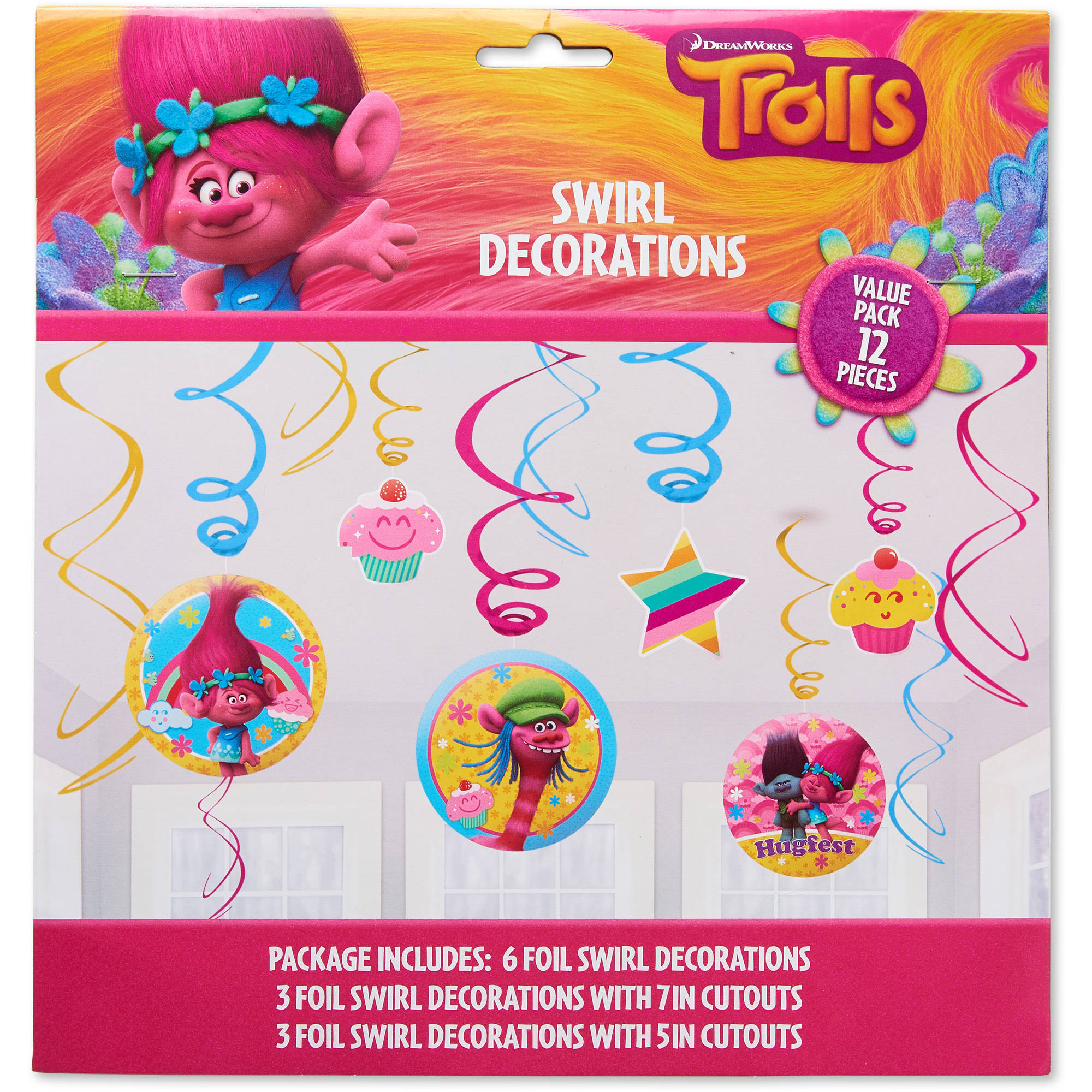 Trolls Hanging Party Decorations 12pc