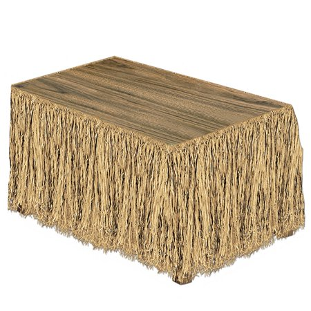 Pack of 6 Tropical Tan Natural Raffia Hawaiian Themed Party Table Skirts 9' - Raffia Table