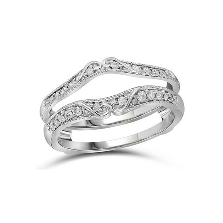 Gift Wrapped Heart Chastity Ring - 14kt White Gold Womens Round Diamond Ring Guard Wrap Solitaire Enhancer 1/4 Cttw Diamond Fine Jewelry Ideal Gifts For Women Gift Set From Heart
