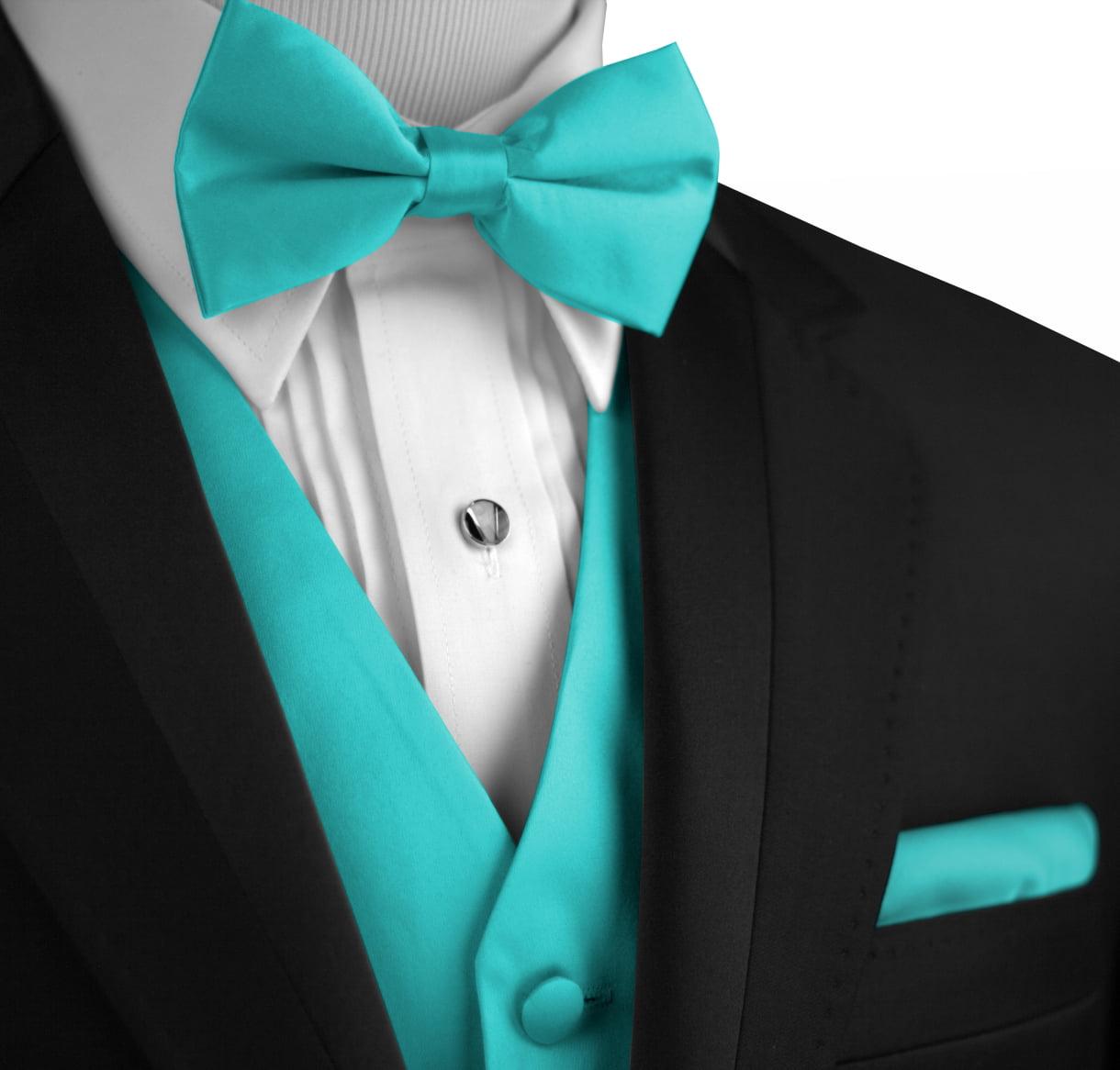 Italian Design, Men's Tuxedo Vest, Bow-Tie & Hankie Set in Teal