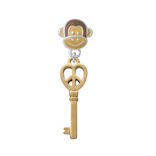 Gold Tone Open Peace Heart Key - Monkey Face Charm Bead
