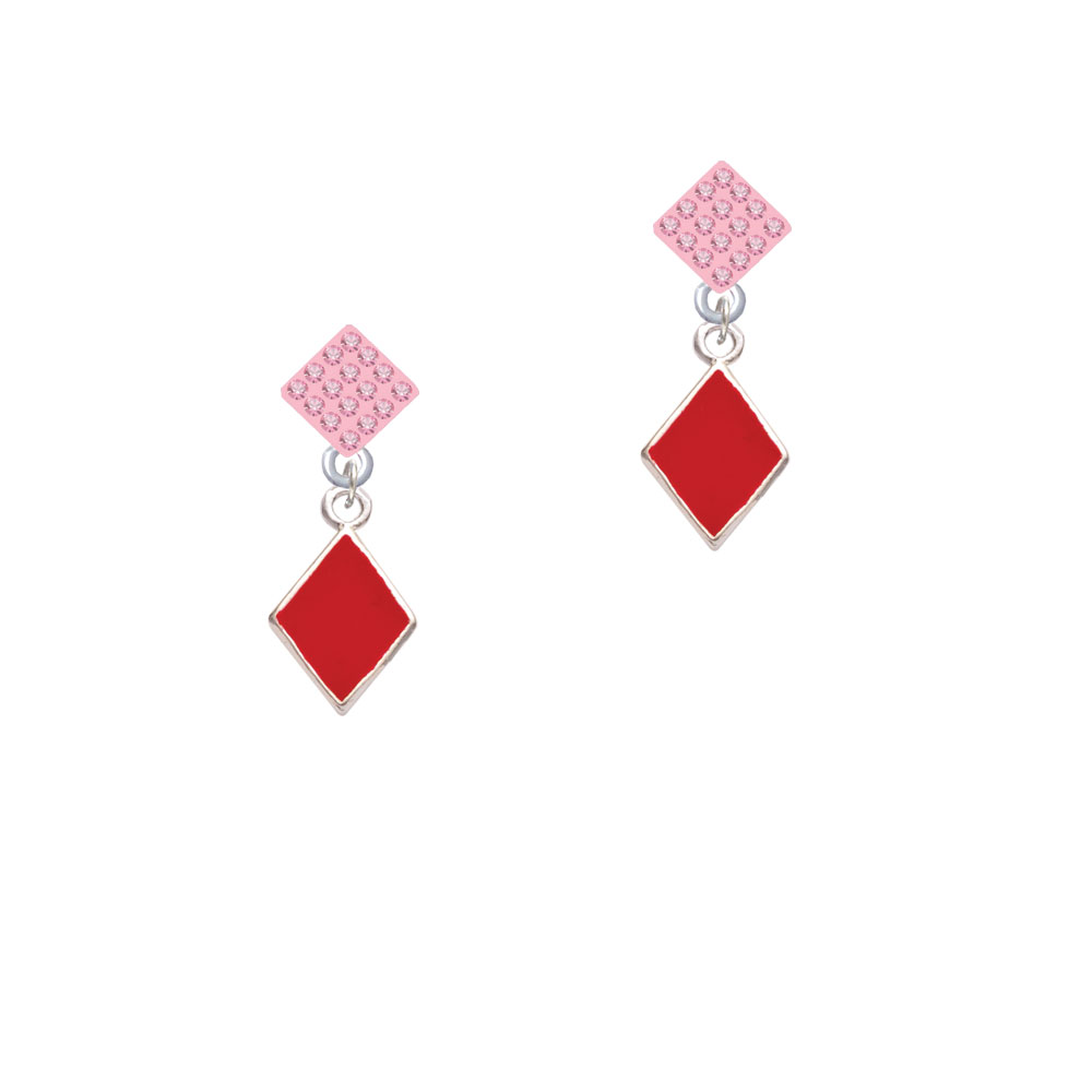 Card Suit - Red Diamond Pink Crystal Diamond-Shape Earrings