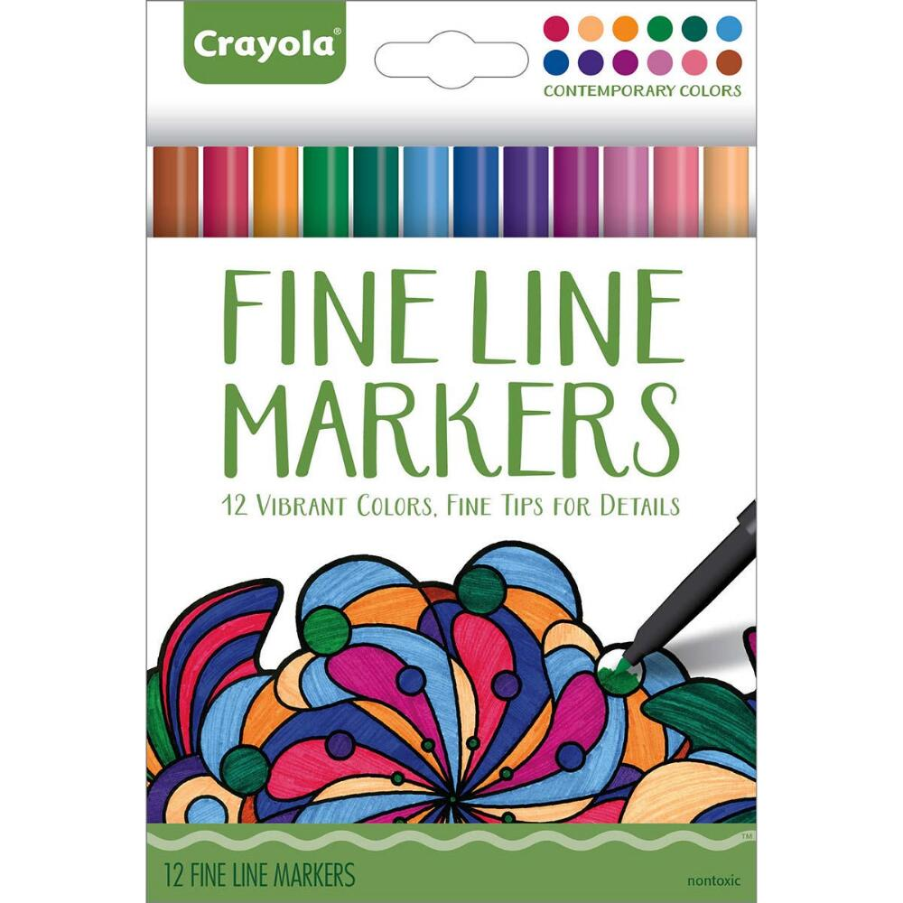 Crayola Adult Coloring�Fine Line Markers 12 count�Contemporary Colors by Crayola