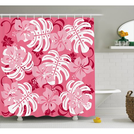 Luau Shower Curtain, Hibiscus Flower with Monstera Leaves Rainforest Plants Fresh Nature Motif, Fabric Bathroom Set with Hooks, 69W X 70L Inches, Baby Pink White Ruby, by Ambesonne for $<!---->