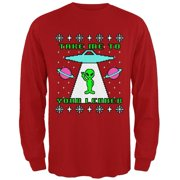 Alien Take Me to Your Leader Ugly Christmas Sweater Mens Long Sleeve T Shirt Red X-LG